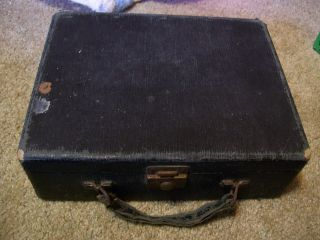 Antique Vintage Old Childs Small Suitcase Luggage Carry Case Cloth Covered Old photo