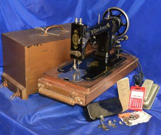 White Rotary Sewing Machine Vintage Serviced Has Attachments A Beauty In Case photo