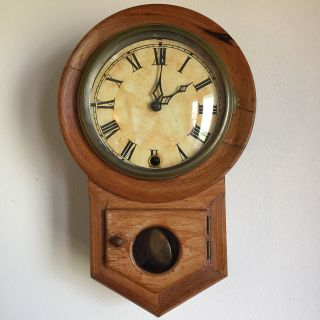Antique Haven Schoolhouse Wall Regulator Clock - Missing Key photo