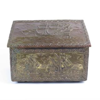 Antique Coal Box Scuttle Embossed Vtg Ships Nautical Maritime Wood Kindling photo