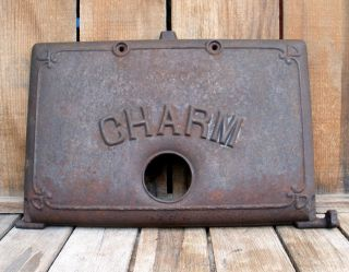 Antique Vintage Charm Cast Iron Cook Stove Or Furnace Door Part Salvage photo