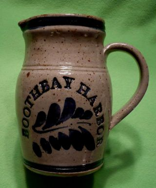 Vintage Stoneware Pitcher Crock W/ Deep Raised Relief Boothbay Harbor.  Saturated photo