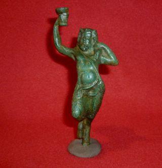 Roman Ancient Bronze Statue / Statuette Of God Satyr Circa 200 - 400 Ad - 3171 photo