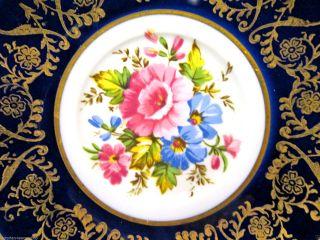Collingwoods Tea Cup And Saucer Cobalt Blue Floral Pattern Teacup Paneled photo