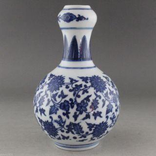 Fine China Jingdezhen Hand Painted Flower Blue And White Porcelain Vase Qianlong photo