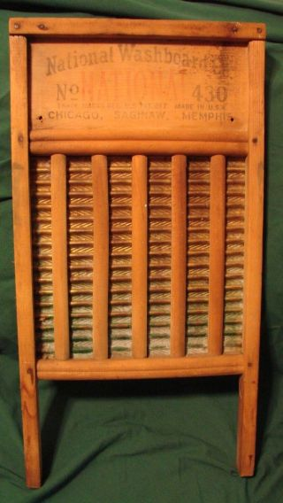 Antique National Washboard Co.  No.  430 Chicago,  Saginaw,  Memphis Brass Chief photo