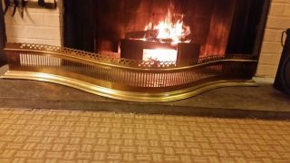 Williamsburg Virginia Metalcrafters Serpentine Brass Fireplace Fender photo