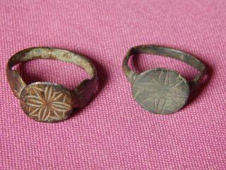 Ancient Rome,  2 Bronze Rings,  2 - 5 Century,  Star On Bezel photo