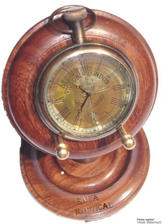 Wodden Base Stand Antique Style Brass Table/desk Victoria London Clock photo