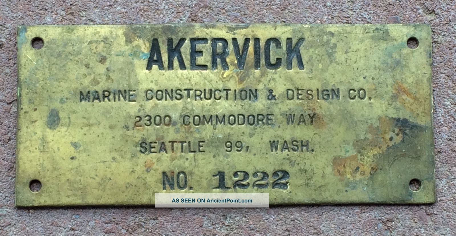 Vtg Akervick Brothers Brass Maritime Fishing Vessel Boat Name Plate Sign Seattle Plaques & Signs photo