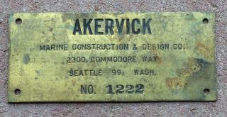 Vtg Akervick Brothers Brass Maritime Fishing Vessel Boat Name Plate Sign Seattle photo