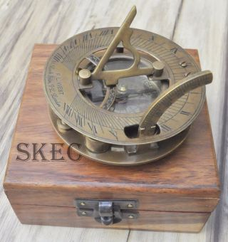 Solid Brass Collectable Maritime Sundial Compass Vintage West London photo