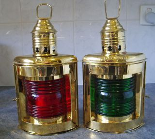 Brass Kerosene Ships Lamps Port & Starboard Wall/ Table Or Hanging Lamp photo