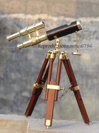 Collectible Solid Brass Telescope Maritime Vintage Spy Glass Telescope W/ Tripod photo