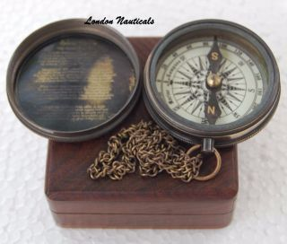 Vintage Brass Poem Compass The Road Not Taken Poem Compass Christmas Gift photo