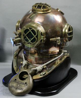 U.  S Navy Mark V Solid Copper & Brass Diving Divers Helmet With Base photo