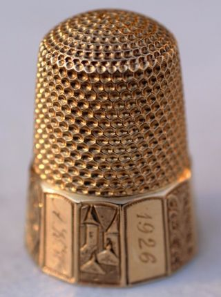 14k Yellow Gold Sewing Thimble - 1926 Christmas - 585 Size 10 Scenic - Really photo