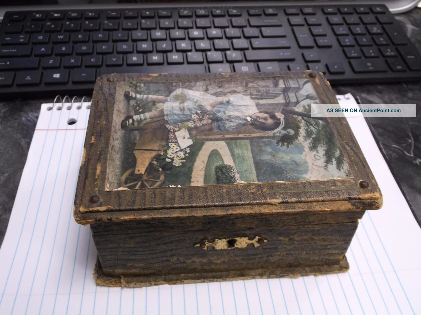 Antique Childs Childrens Sewing Box With Mirror Compartments Tray Buttons Spools Baskets & Boxes photo
