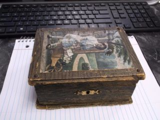 Antique Childs Childrens Sewing Box With Mirror Compartments Tray Buttons Spools photo