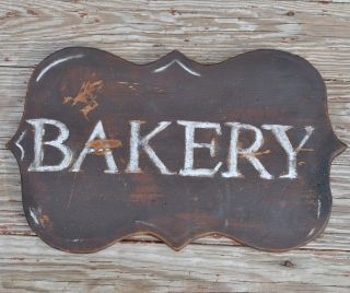 Bakery Bread Sign Old Primitive Wooden Trade Sign General Country Store photo