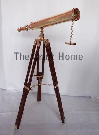 Designers Nautical Brass Telescope With Wooden Tripod - Decorative Marine Gift photo