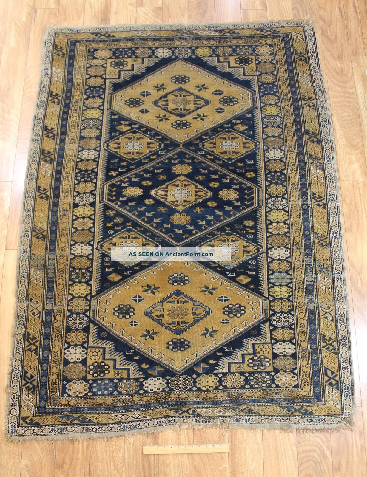Antique Early 20thc Hand Woven Wool Shirvan Rug/carpet,  No Reverse Rugs & Carpets photo