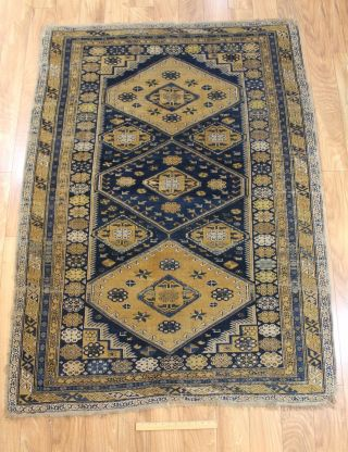 Antique Early 20thc Hand Woven Wool Shirvan Rug/carpet,  No Reverse photo