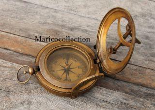 Solid Brass Ship Sundial Compass Vintage Maritime Nautical Push Button Compass photo