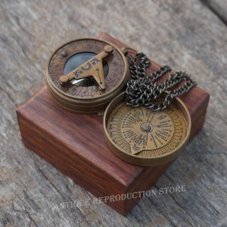 Compass Calendar Sundial Poem Vintage Nautical Pocket Brass Compass With Wod Box photo