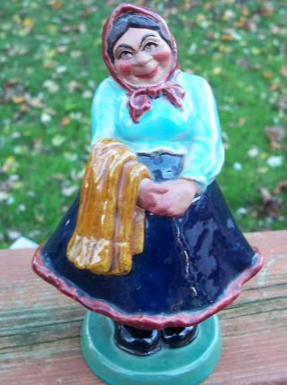 Ceramic Porcelain Victorian Woman Figurine Portugal Wobble Bobble Head photo