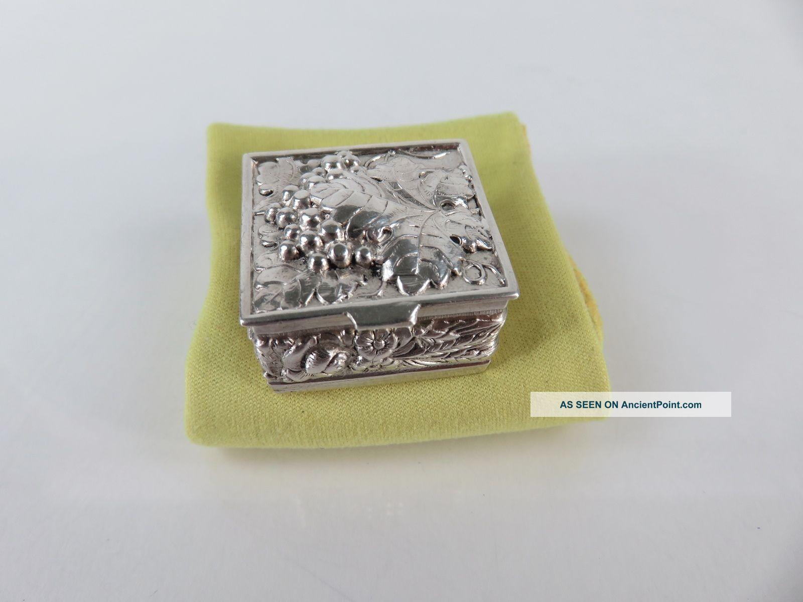 Vintage Sterling Silver Leafy Grape Repousse Pill Box Boxes photo