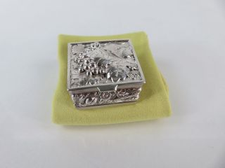 Vintage Sterling Silver Leafy Grape Repousse Pill Box photo