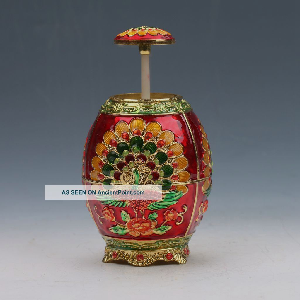 Chinese Exquisite Cloisonne Handwork Carved Peacock Toothpick Box G54 Boxes photo