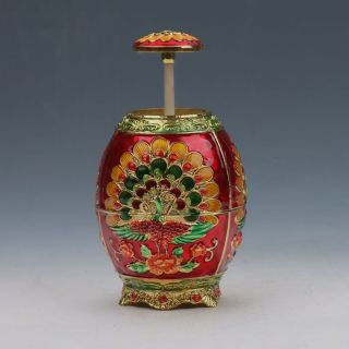 Chinese Exquisite Cloisonne Handwork Carved Peacock Toothpick Box G54 photo