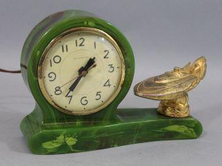 Antique Art Deco Green Bakelite Lanshire Electric Clock & Hydroplane Race Boat photo