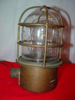 Bulkhead Light - Brass Lamp W/ Glass Lens - Outside Base Switch - Boat Light photo