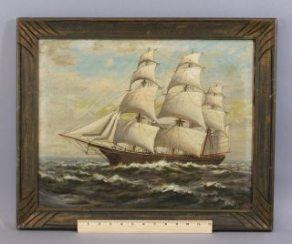 Antique Authentic T.  Bailey Nautical Maritime Clipper Ship Seascape Oil Painting photo