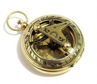 Brass Push Button Direction Sundial Compass - Pocket Sundial Compass - photo