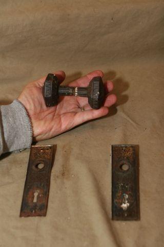 Antique Architectural Steel Doorknob Door Knobs Backplates Hardware photo