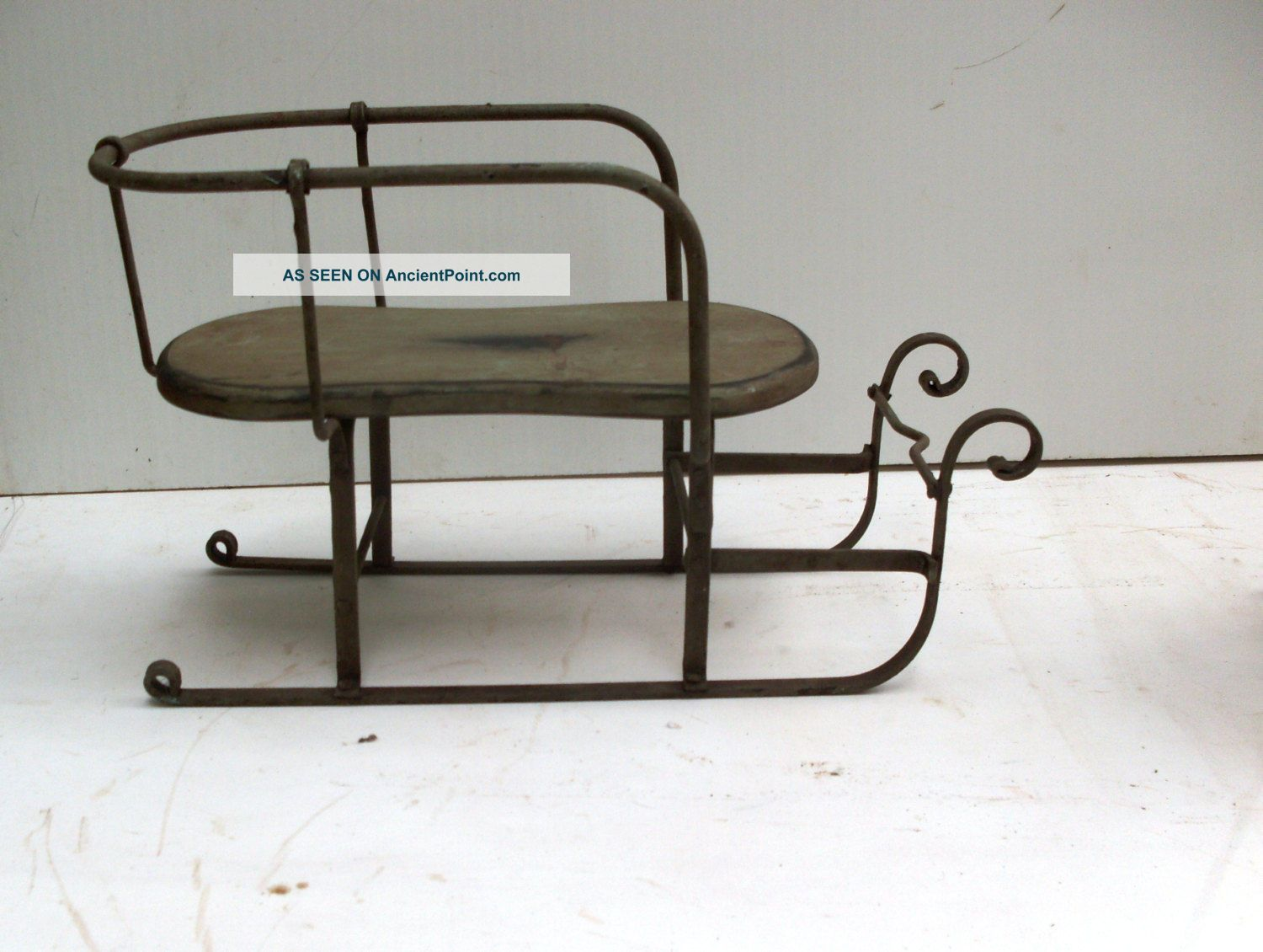 Antique 1800s,  Childs Sleigh In Iron And Wood,  Country,  Christmas Doll Stroller Baby Carriages & Buggies photo