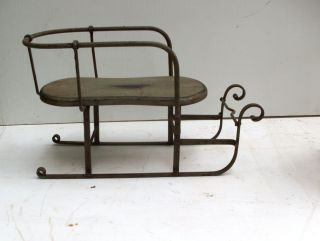 Antique 1800s,  Childs Sleigh In Iron And Wood,  Country,  Christmas Doll Stroller photo