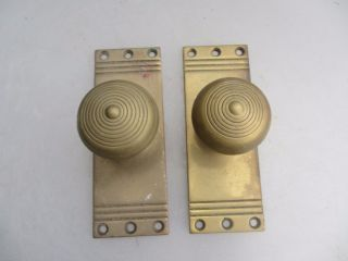 Antique Brass Door Knobs Handles Vintage Architectural Reeded Old