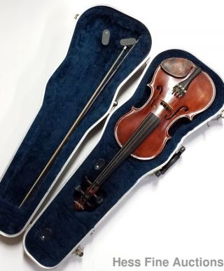 Left Handed 1899 Antique A Stewart Lawrence Ma Stradivarius Copy Violin W Papers photo