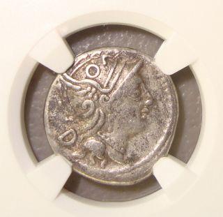 101 Bc C.  Fundanius Roma/general Ancient Roman Republic Silver Denarius Ngc Vf photo
