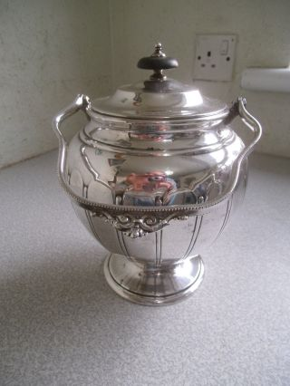 Lovely Vintage / Antique Silver Plated Biscuit Barrel - Hinged Lid photo