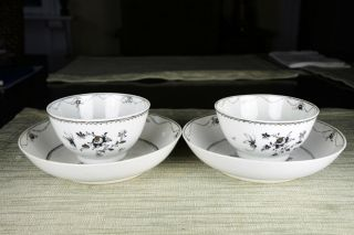 Chinese Export Qianlong Grisaille Tea Cups With Matching Saucers photo