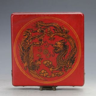 Chinese Antique Wooden & Brass Hand - Painted Dragon & Phoenix Motif Box C389 photo