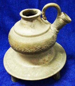 Old Antique Mughal Islamic Brass Hand Hookah Pot photo