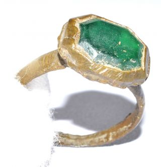 Authentic Late Medieval Ring - Large Gem In Bezel - Historical Gift - Qr22 photo