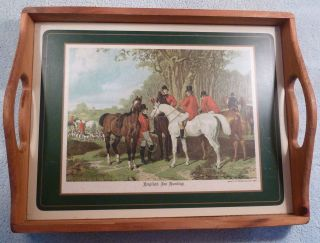 Antique Herring Fox Hunting Scene Large Wooden Serving,  Bed Or Bar Tray photo